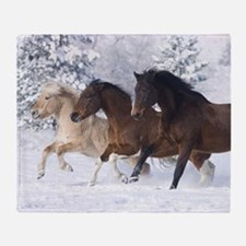Horses Running In The Snow Throw Blanket