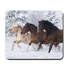 Horses Running In The Snow Mousepad