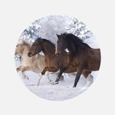 """Horses Running In The Snow 3.5"""" Button (100 pack)"""