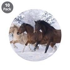 """Horses Running In The Snow 3.5"""" Button (10 pack)"""