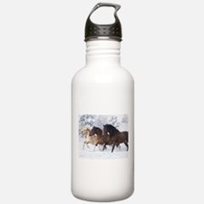 Horses Running In The Snow Sports Water Bottle