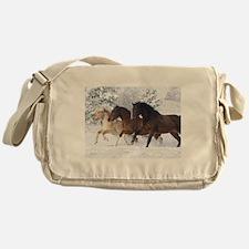 Horses Running In The Snow Messenger Bag