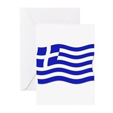 Waving Greek Flag Greeting Cards (Pk of 10)