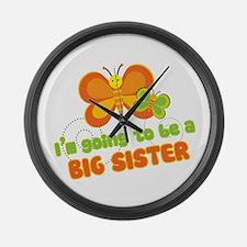 Big Sister Butterflies Large Wall Clock