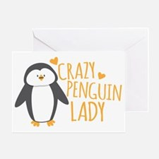 Crazy Penguin Lady Greeting Card