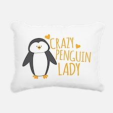 Crazy Penguin Lady Rectangular Canvas Pillow