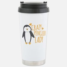Crazy Penguin Lady Stainless Steel Travel Mug