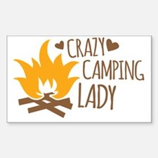 Crazy Camping Lady Sticker (Rectangle)