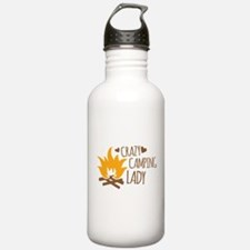Crazy Camping Lady Water Bottle