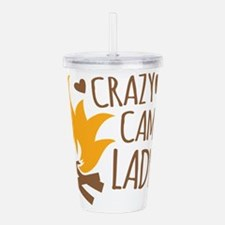 Crazy Camping Lady Acrylic Double-wall Tumbler