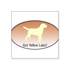 """Funny Yellow labrador Square Sticker 3"""" x 3"""""""