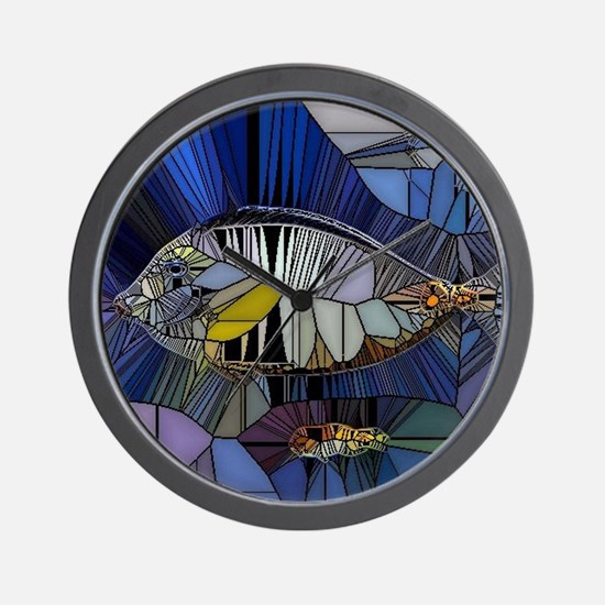 Fish mosaic 001 Wall Clock