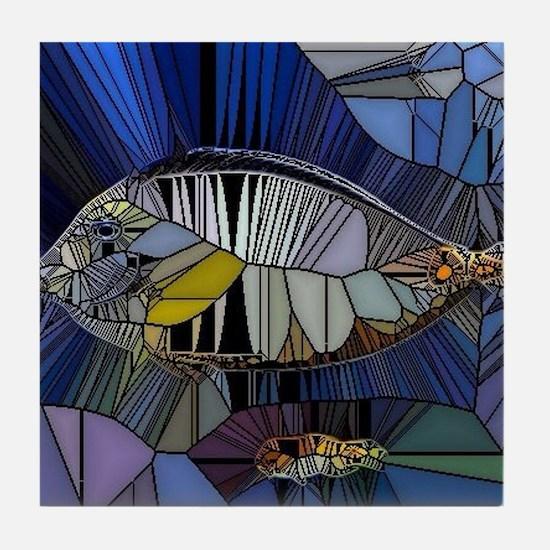 Fish mosaic 001 Tile Coaster