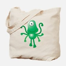Cute green 6 armed Alien with one eye Tote Bag