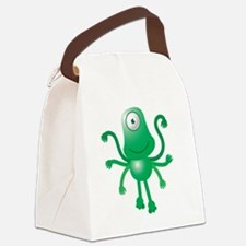 Cute green 6 armed Alien with one Canvas Lunch Bag