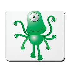 Cute green 6 armed Alien with one eye Mousepad