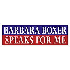 Barbara Boxer Speaks for Me car sticker
