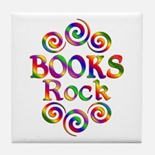 Colorful Books Rock Tile Coaster