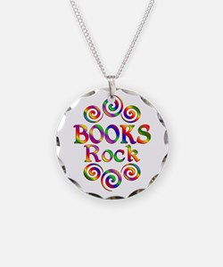 Colorful Books Rock Necklace Circle Charm