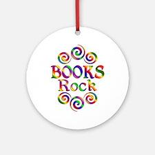 Colorful Books Rock Round Ornament