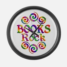 Colorful Books Rock Large Wall Clock