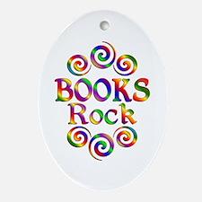 Colorful Books Rock Oval Ornament