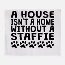 Without A Staffie Throw Blanket