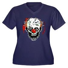 Zombie clown Women's Plus Size V-Neck Dark T-Shirt