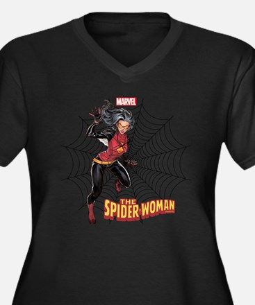 Spider-Woman Women's Plus Size V-Neck Dark T-Shirt
