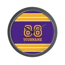 Purple and Yellow Stripes Personalized Wall Clock