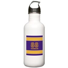 Purple and Yellow Stri Water Bottle