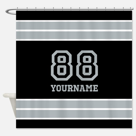 Black and Silver Gray Stripes Perso Shower Curtain