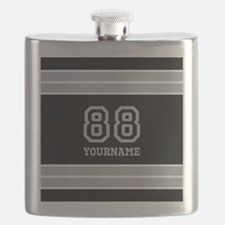 Black and Silver Gray Stripes Personalized Flask