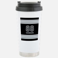 Black and Silver Gray S Stainless Steel Travel Mug
