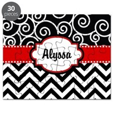 Black Red Swirls Chevron Personalized Puzzle