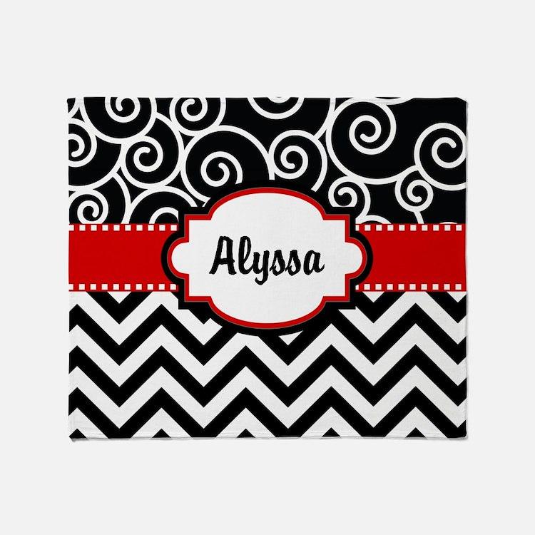 Black Red Swirls Chevron Personalized Throw Blanke