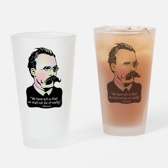 Nietzsche - Art v. Reality Drinking Glass