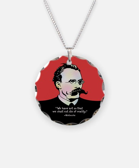 Nietzsche - Art v. Reality Necklace Circle Charm