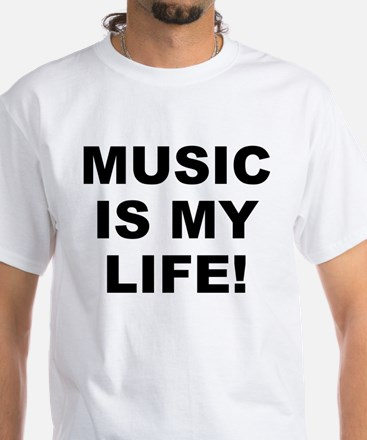 Music Is My Life! Men's White T-Shirt