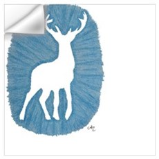 White Stag on Blue Wall Decal