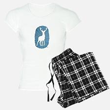 White Stag on Blue Pajamas