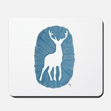White Stag on Blue Mousepad