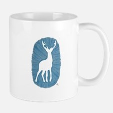White Stag on Blue Mugs