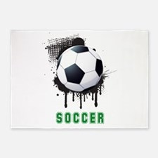Abstract Ink Splotch with SOCCER ba 5'x7'Area Rug