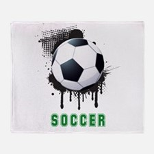 Abstract Ink Splotch with SOCCER bal Throw Blanket