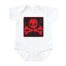 Red Pirate Skull Crossbones Infant Bodysuit