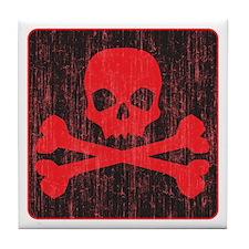 Red Pirate Skull Crossbones Tile Coaster
