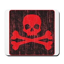 Red Pirate Skull Crossbones Mousepad