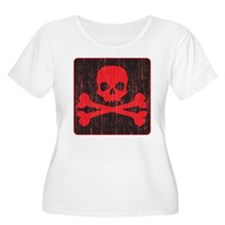 Red Pirate Skull Crossbones T-Shirt