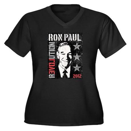 Ron Paul 'Vintage' Women's Plus Size V-Neck Dark T